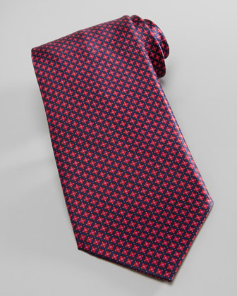 Micro-Medallion Silk Tie, Navy