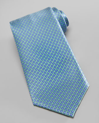 Micro-Medallion Silk Tie, Green
