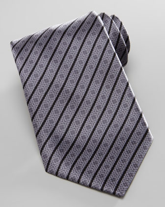 Square-Medallion Stripe Silk Tie, Gray
