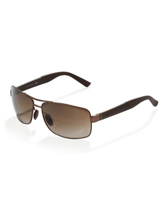 Rectangular Metal Sunglasses, Brown