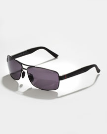 Rectangle Metal Sunglasses, Black