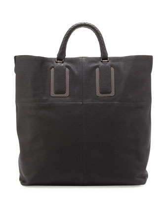 Woven Leather Briefcase, Black