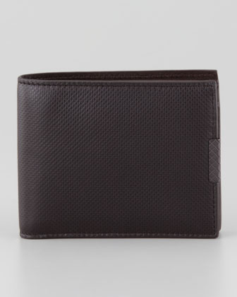 Polo Micro-Embossed Bi-Fold Wallet, Brown