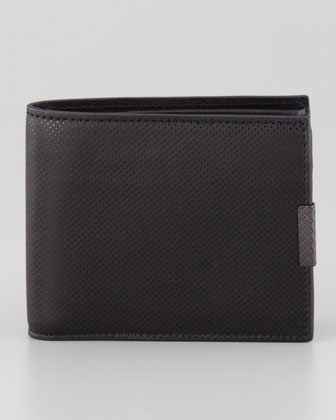 Polo Micro-Embossed Bi-Fold Wallet, Black