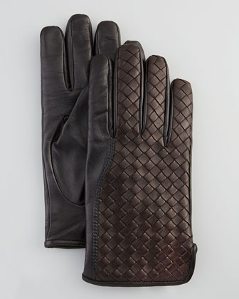 Men's Woven Leather Gloves, Dark Brown