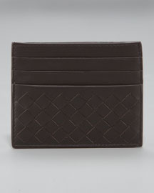 Flat Woven Card Case, Brown