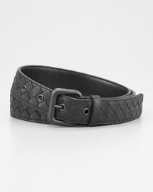 Woven Leather Dress Belt, Black
