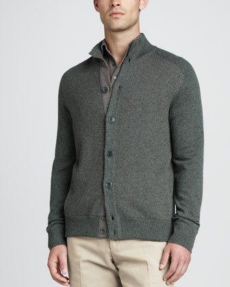 Cashmere Donegal Knit Bomber Sweater, Green Silver