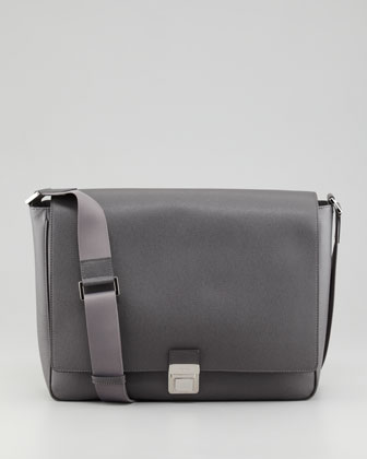 Saffiano Leather Messenger Bag, Gray
