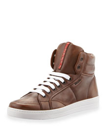 Avenue Saffiano High-Top Sneaker, Brown