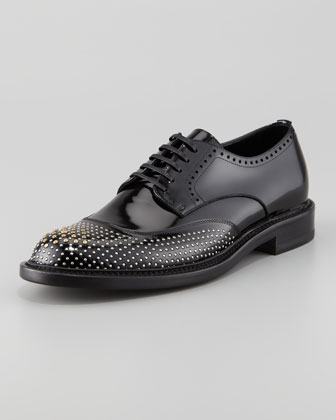 Derby Lace-Up with Faux Studs, Black