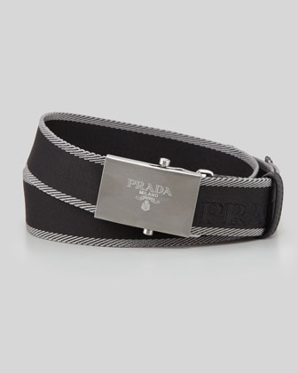Nastro Logo-Buckle Belt, Black/Gray
