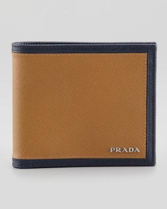 Saffiano Bicolor Billfold Wallet, Brown/Blue