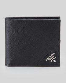 Saffiano Logo Hip-Fold Wallet, Black