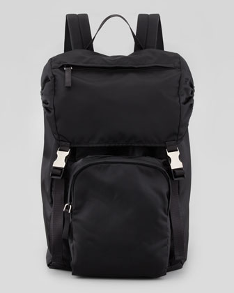 Men's Nylon Double-Buckle Backpack, Black