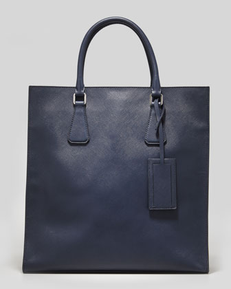 Saffiano Men's North-South Side-Logo Tote Bag, Navy