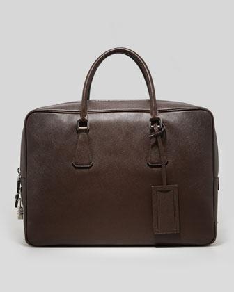 Saffiano Zip-Top Lock Briefcase, Brown