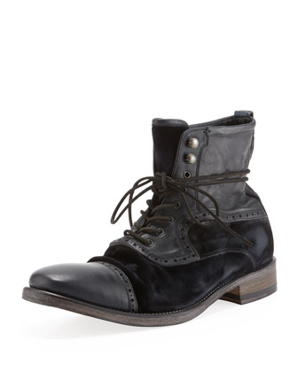 Fleetwood Leather/Velvet Boot, Black