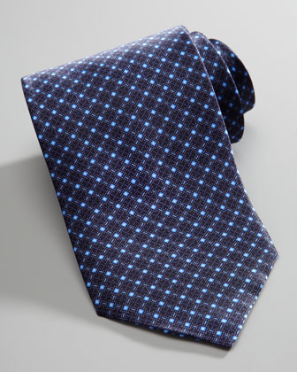 Micro Diamond-Pattern Silk Tie, Blue