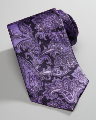 Paisley Silk Tie, Purple