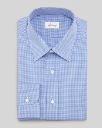 Micro-Check Dress Shirt, Blue