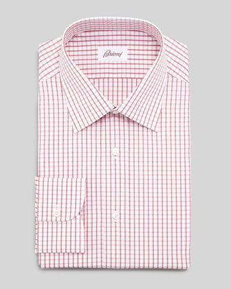 Windowpane-Check Dress Shirt, Red
