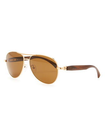 Metal & Horn Polarized Round Sunglasses, Golden