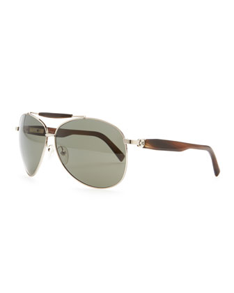 Horn & Metal Aviator Sunglasses, Silver