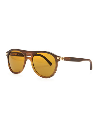 Horn Polarized Aviator Sunglasses, Brown