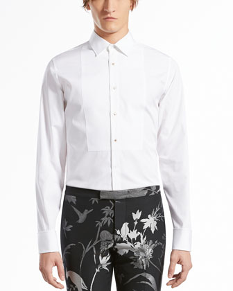 Cotton-Poplin Evening Shirt, White