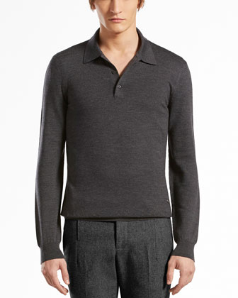 Wool-Melange Long-Sleeve Polo, Dark Gray