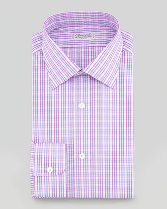 Plaid Barrel-Cuff Dress Shirt & Grid Stripe Silk Tie