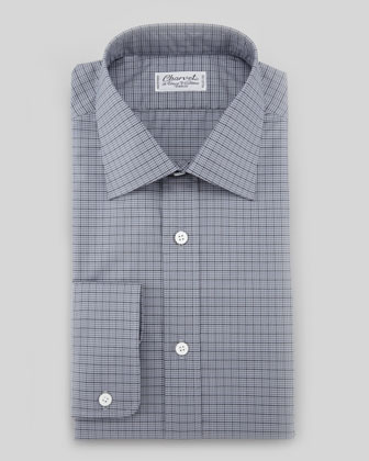 Striped Tonal Plaid Front Dress Shirt, Blue/Gray
