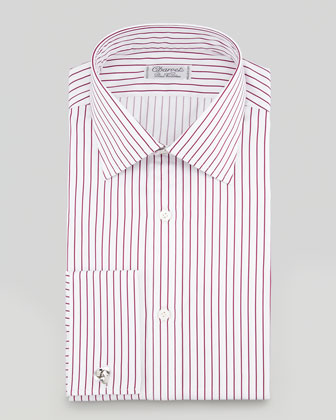 Satin-Stripe French-Cuff Dress Shirt, Red/White