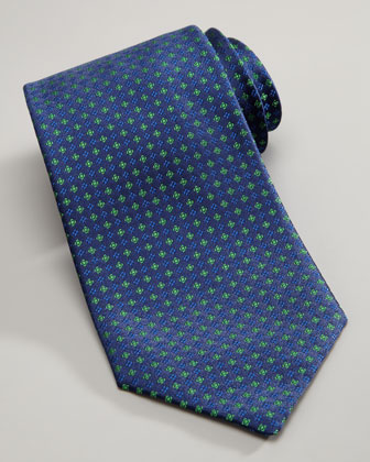 Micro-Flower Silk Tie, Blue/Green