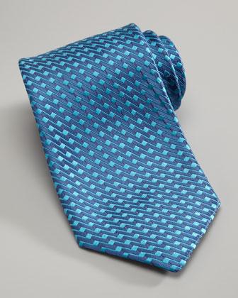 Zigzag Silk Tie, Blue
