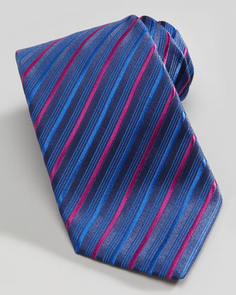 Multi-Striped Silk Tie, Blue/Pink