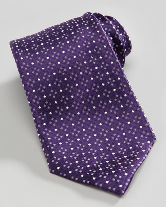 Micro-Dot Silk Tie, Purple