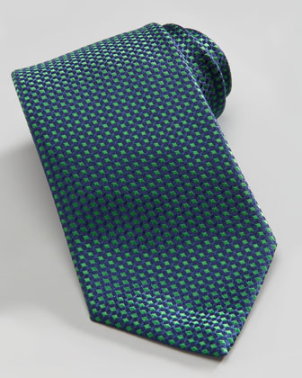 Micro-Diamond Silk Tie, Blue/Green