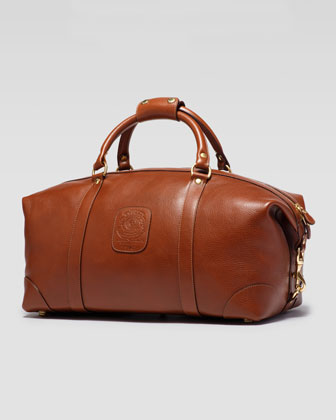 Men's Pebbled Leather Duffle Bag, Chestnut