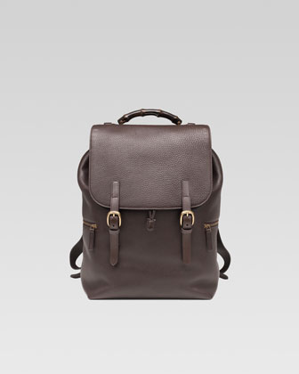 Leather Drawstring Backpack, Dark Brown