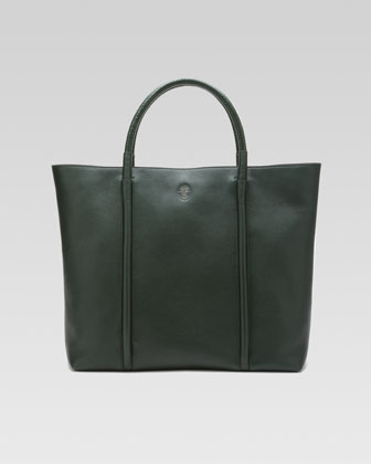 Braided-Handle Tote Bag, Dark Green