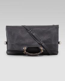 Bamboo-Handle Messenger Bag, Black