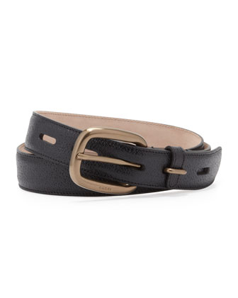 Shiny Leather Belt, Black