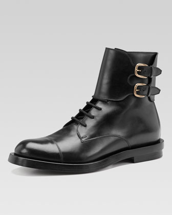 Leather Double-Buckle Military Boot, Black