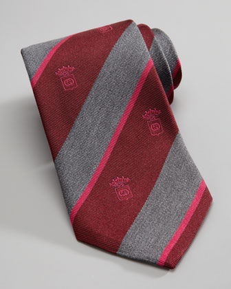 Crest Striped Silk Tie