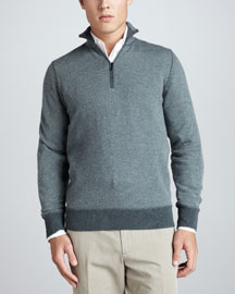 Roadster Half-Zip Cashmere Sweater, Green