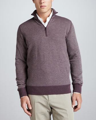 Roadster Half-Zip Cashmere Sweater, Wine