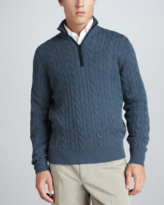 Mezzocollo Cable-Knit Cashmere Pullover Sweater, Gray/Blue
