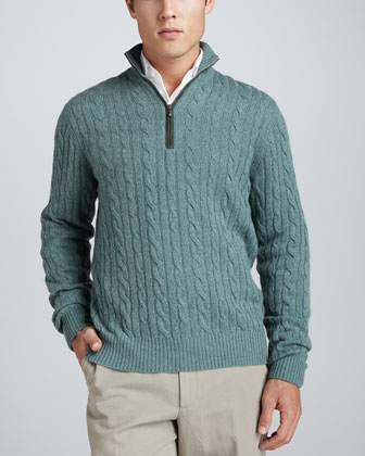 Mezzocollo Cable-Knit Cashmere Pullover Sweater, Green